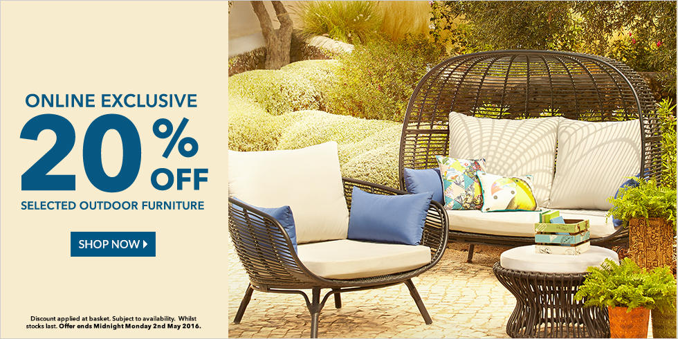 Shop 20% off outdoor furniture at George.com - ends Monday 2nd May at Midnight