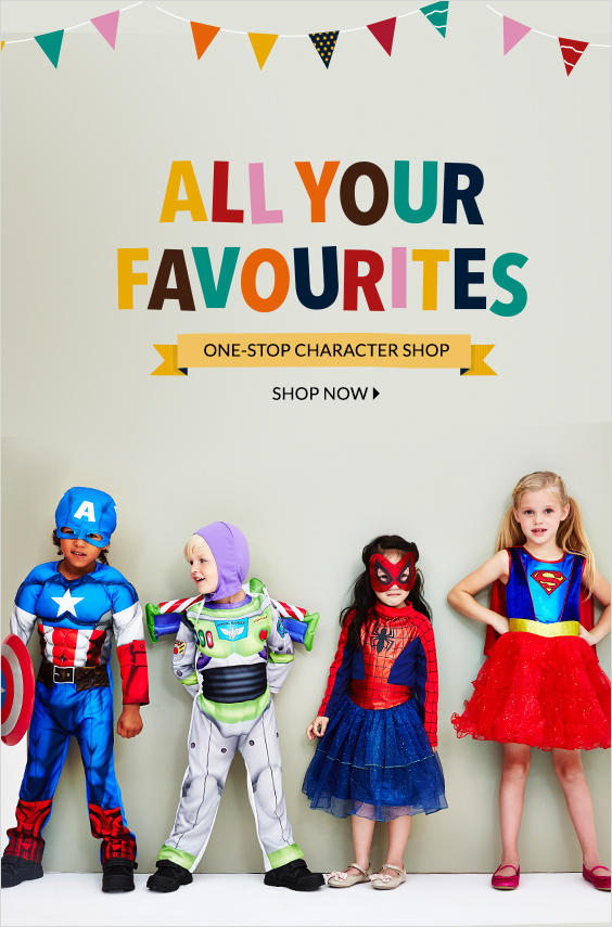 Let them be their favourite characters from Batman to Spider-man, Barbie to Elsa and shop our range of clothing and fancy dress set now at George.com