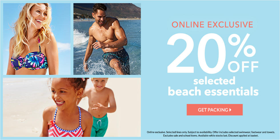 Stock up for the summer with 20% off selected beach essentials for all the family now at George.com