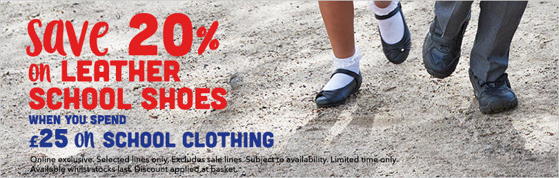 20% off girls and boys leather shoes when you spend £25 on school clothing at George.com