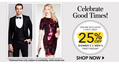 Get party stylish for less with 25% off party wear at George.com