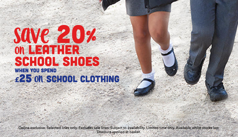 Save 20% on girls and boys school shoes when you spend £25 on school clothing at George.com
