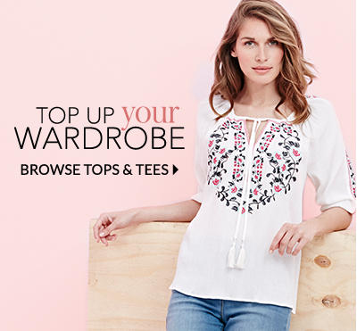 Explore our amazing range of tops, from t-shirts to evening tops, we have the style to suit to occasion