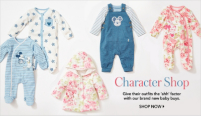Find coo worthy character clothes for babies at George.com