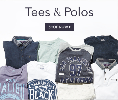 Find men's T-shirts and polo shirts now at George.com