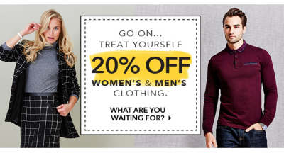Get an amazing 20% off selected men's & women's clothing at George.com – stock up on your autumn essentials now