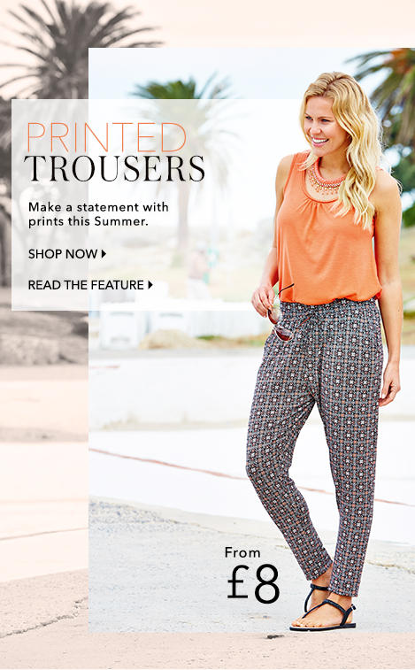 Shop print trousers at George.com