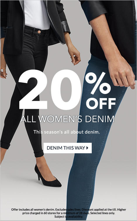 Shop 20% off women's denim at George.com