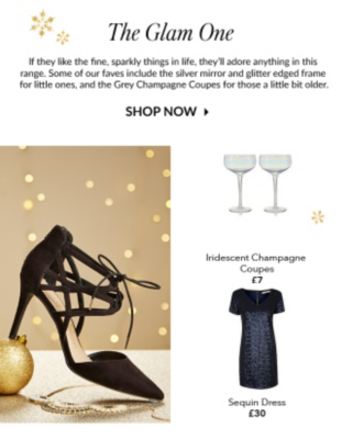 Browse a beautiful range of sequin dresses, shoes and champagne flutes at George.com