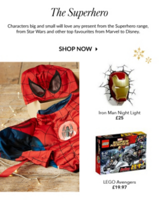 Build up their collection and happiness with a range of Lego sets, character accessories and costumes at George.com