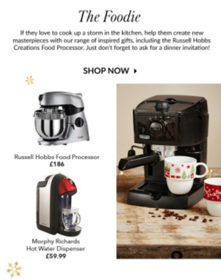 Brew up a great present with our range of coffee machines, food processors and hot water dispensers at George.com