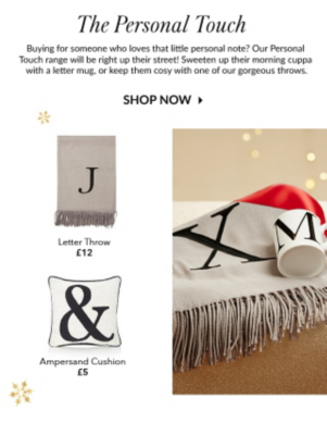 Go for a personal touch with a range of letter cushions, throws and mugs at George.com