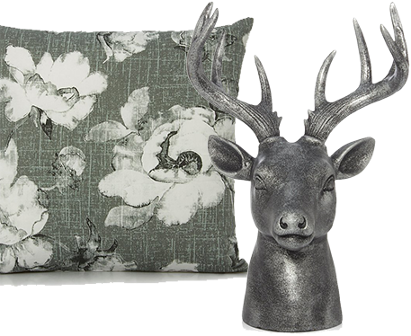 Update your space with printed cushions and grey ornaments at George.com