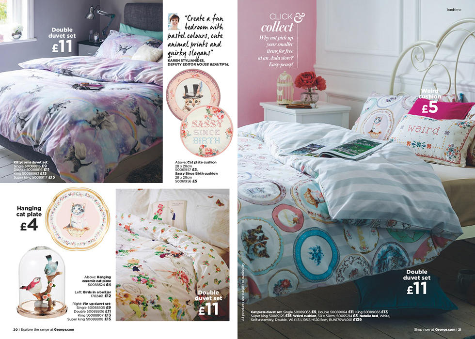 Add some quirky style to your bedroom with a range of pastel shades and fun, animal-inspired prints.