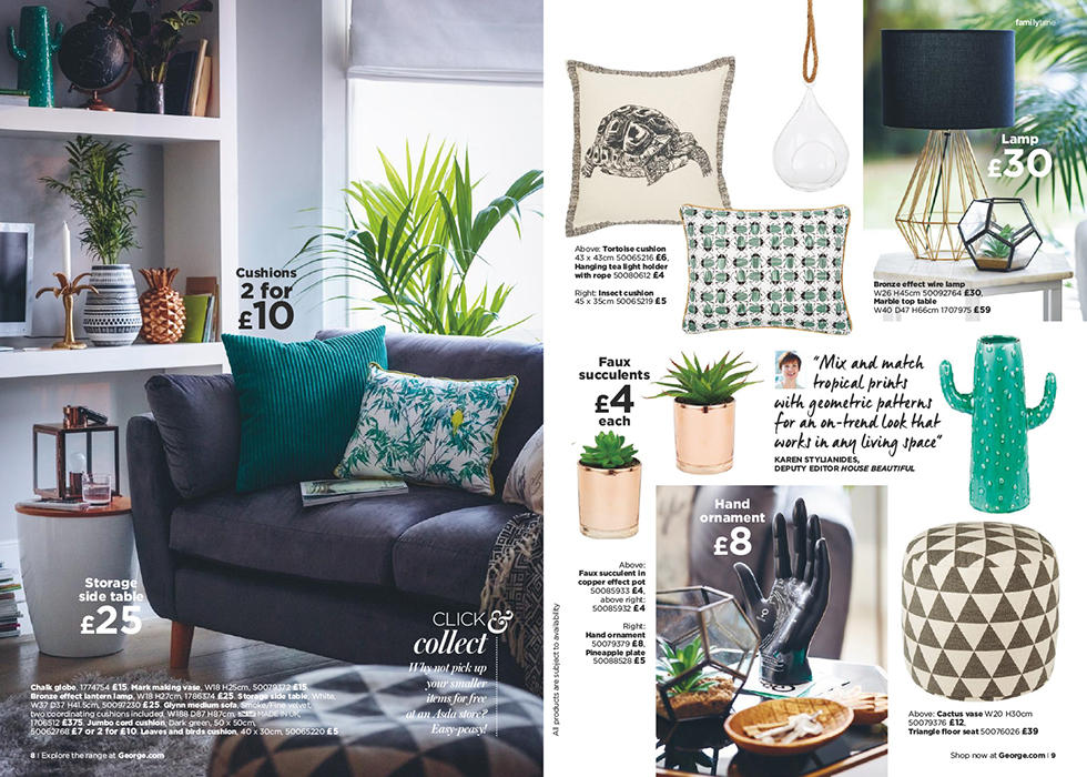 Shop the home catalogue and mix geometric shapes with bold prints and a botanical feel.