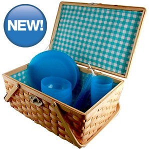 Wooden Party Picnic Hamper And 4 Person Set 45cm 4
