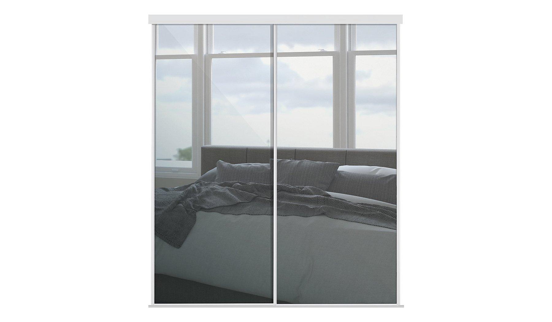 white frame mirror sliding wardrobe doors wardrobes gee at asda - White Frame Mirror