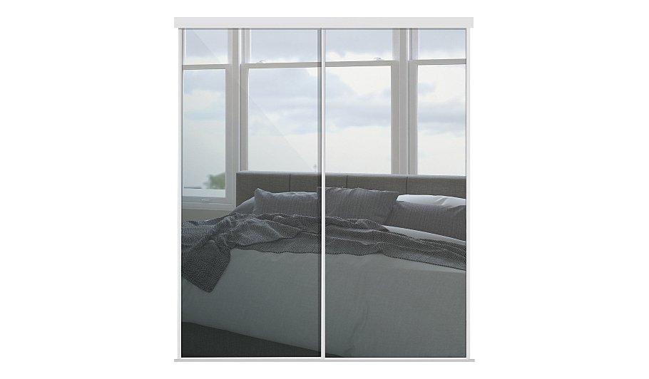 White Frame Mirror Sliding Wardrobe Doors Wardrobes
