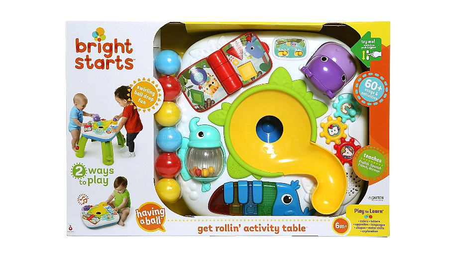 bright starts get rollin 39 activity table toys character george. Black Bedroom Furniture Sets. Home Design Ideas