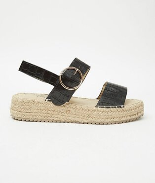 Black mock croc strappy flatform jute sandals