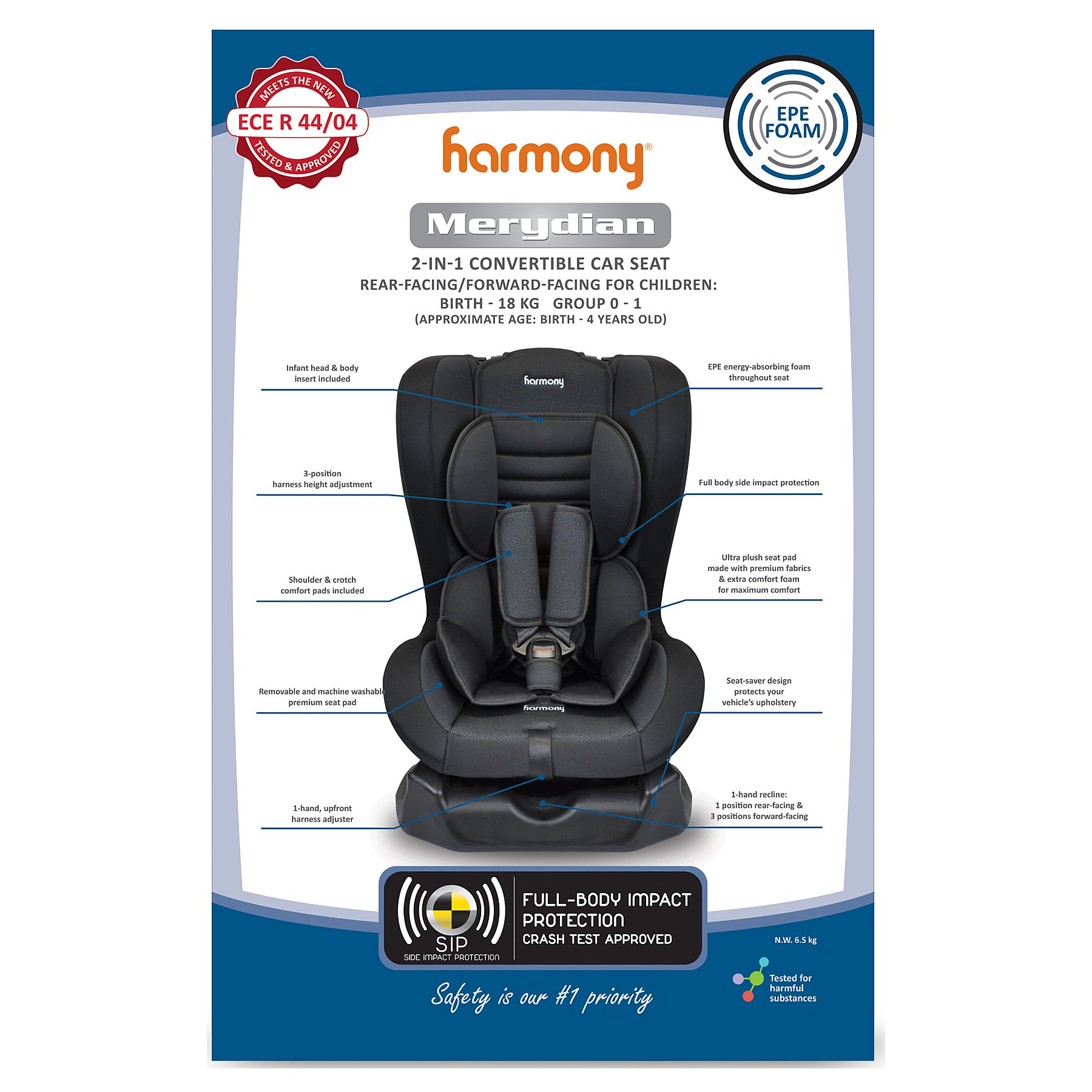 Harmony Group 01 Merydian 2 In 1 Convertible Car Seat
