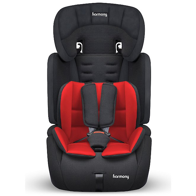 2152de22cf78 Harmony Venture Deluxe Harnessed Car Seat with Red/Black Reversible Insert
