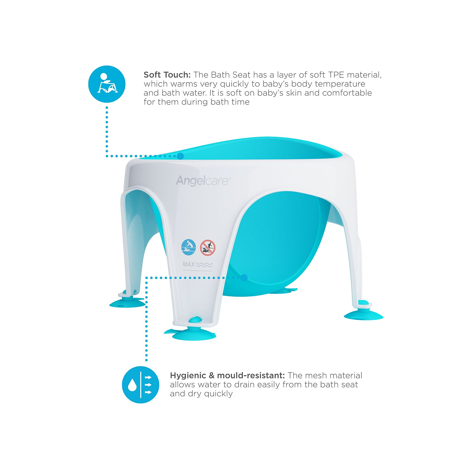 c22220627 Angelcare Soft Touch Bath Seat - Aqua