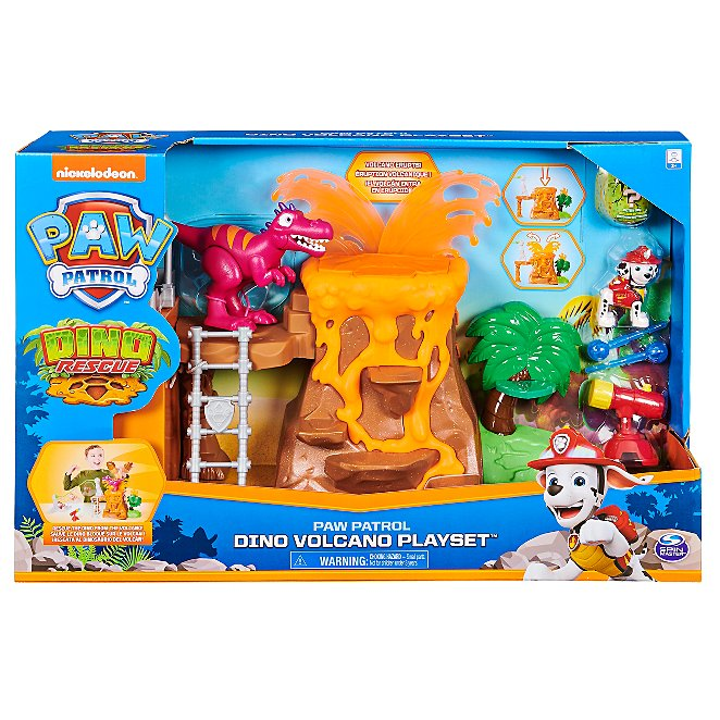 Paw Patrol Dino Rescue Volcano Playset Toys Character George At Asda