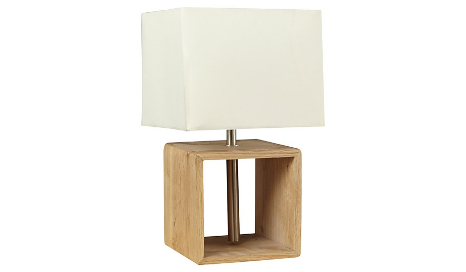 George Home Large Square Wooden Lamp