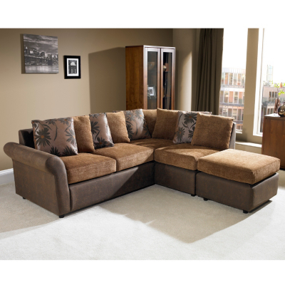 Fabric And Leather Corner Sofa | Baci Living Room