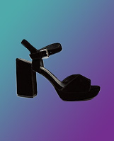 Black velvet effect platform heeled sandals