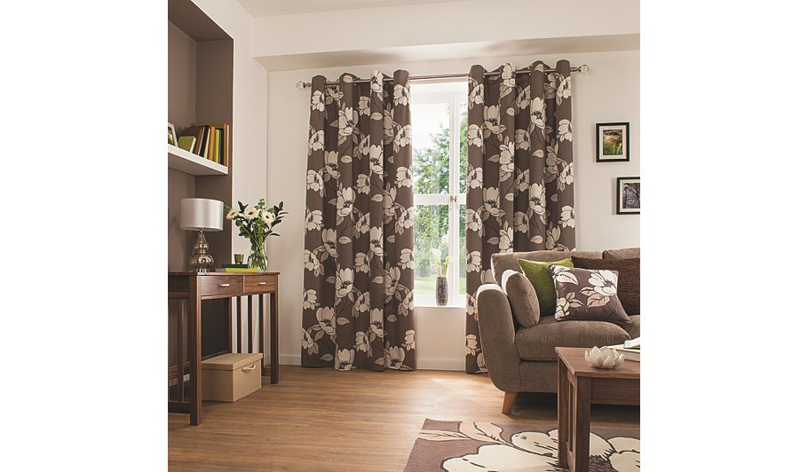 Jeff Banks Home Fern Mink Eyelet Heading Lined Curtains