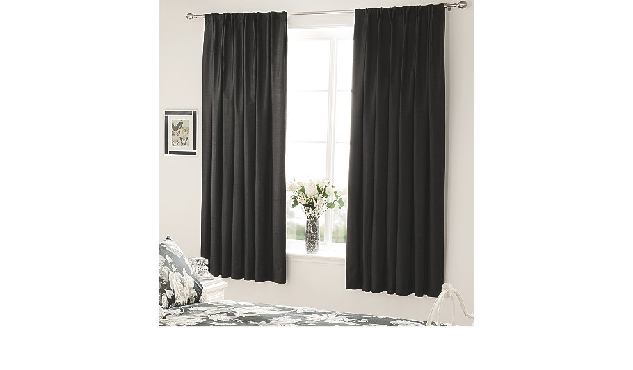 Black Faux Silk Bedroom Curtains