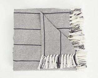 Grey blanket with tassels