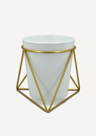 Gold framed grey plant pot