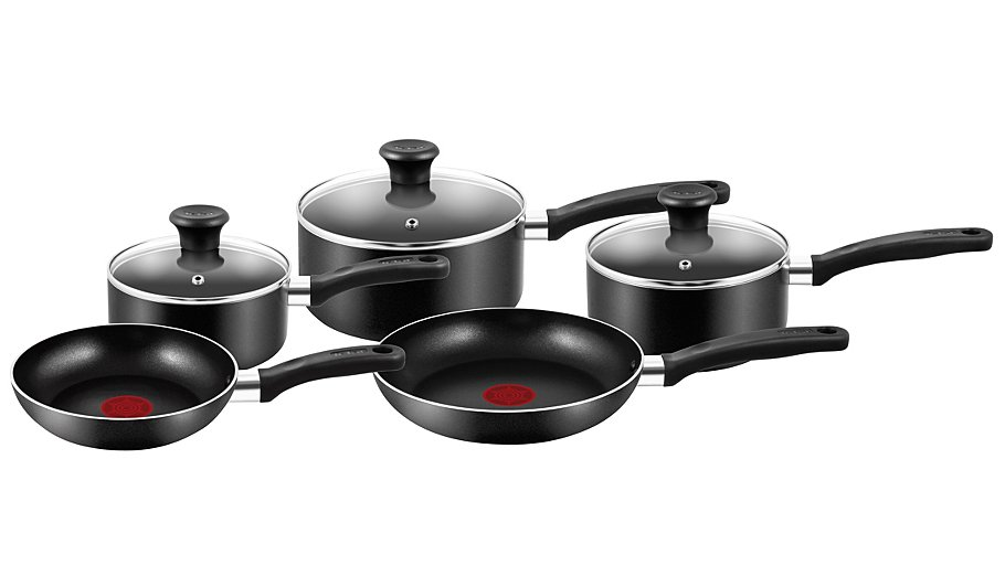 Tefal Essential 5 Piece Non Stick Cookware Pan Set Pots