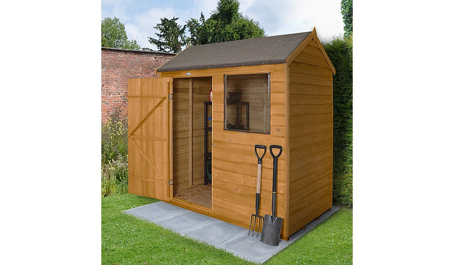 Forest garden overlap dip treated 6x4 reverse apex shed for Garden shed 6x4 sale