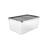asda clear storage box and lid 45l home garden. Black Bedroom Furniture Sets. Home Design Ideas