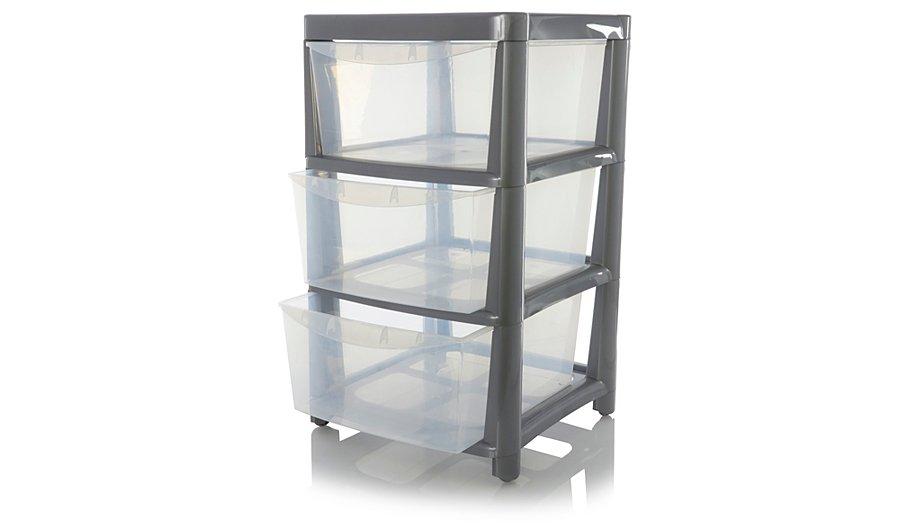 ASDA Silver 3 Drawer Storage Unit