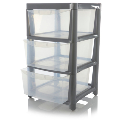 sc 1 st  George - Asda & ASDA Silver 3 Drawer Storage Unit | Home u0026 Garden | George at ASDA