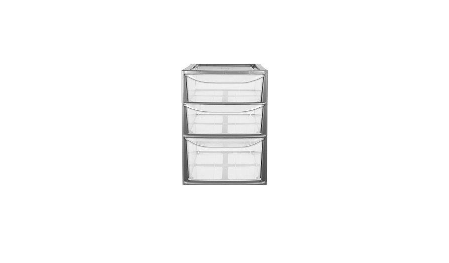 Silver 3 Drawer Small Storage Unit
