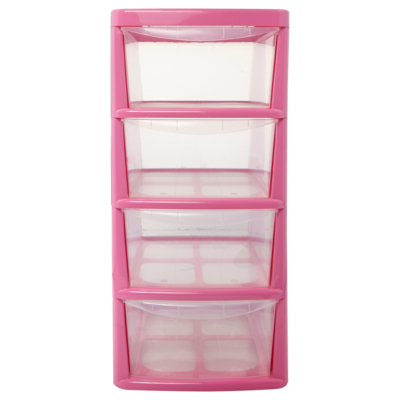 Thumbs Up Pink 4 Drawer Storage Unit