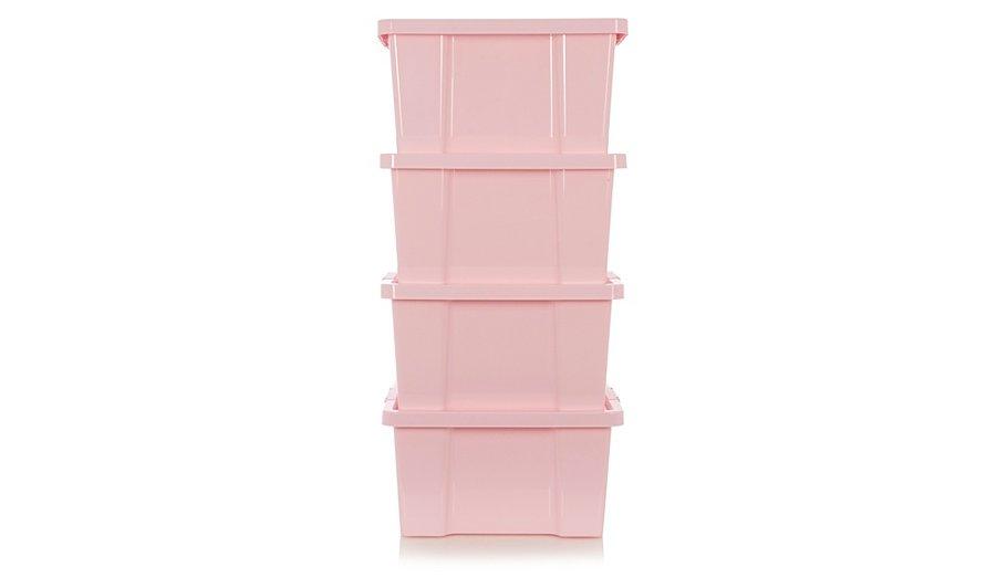 asda pink box and lid 27l set of 4 home garden george at asda