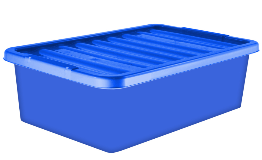 32 Litre Underbed Storage Box Lid Blue Set of 2 Bedroom