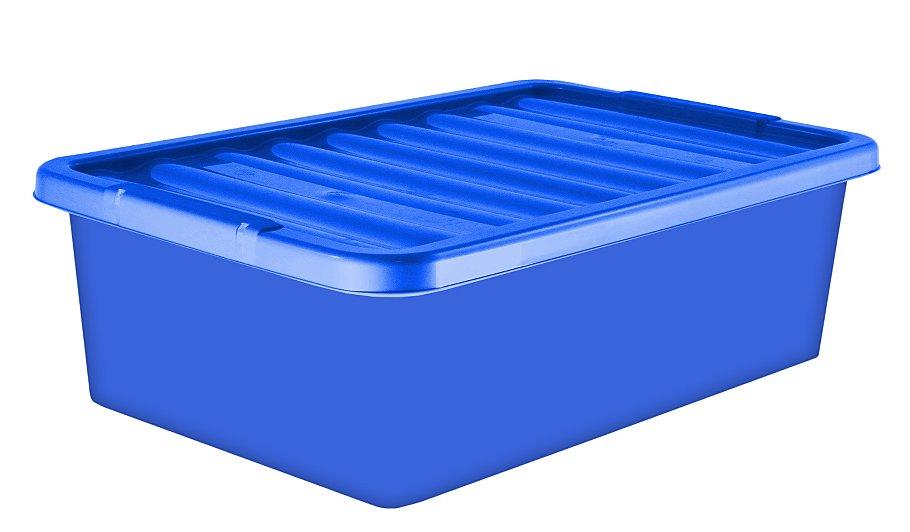 32 Litre Underbed Storage Box & Lid Blue Set Of 2