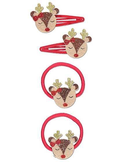 4 Piece Reindeer Bobble And Clip Christmas Hair Set Features In Our Accessories Collection