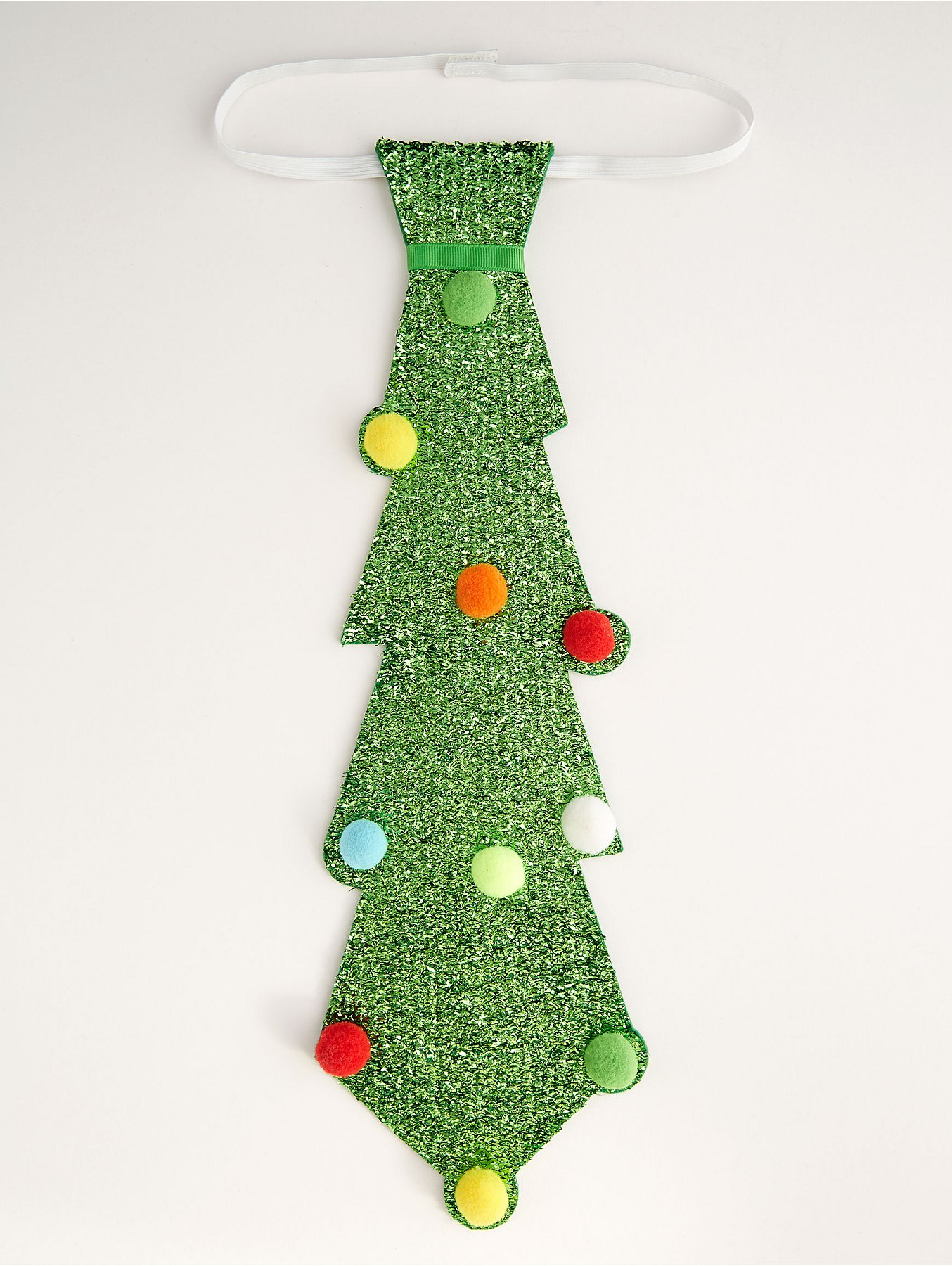 Christmas Tie.Green Glittering Oversized Christmas Tree Tie