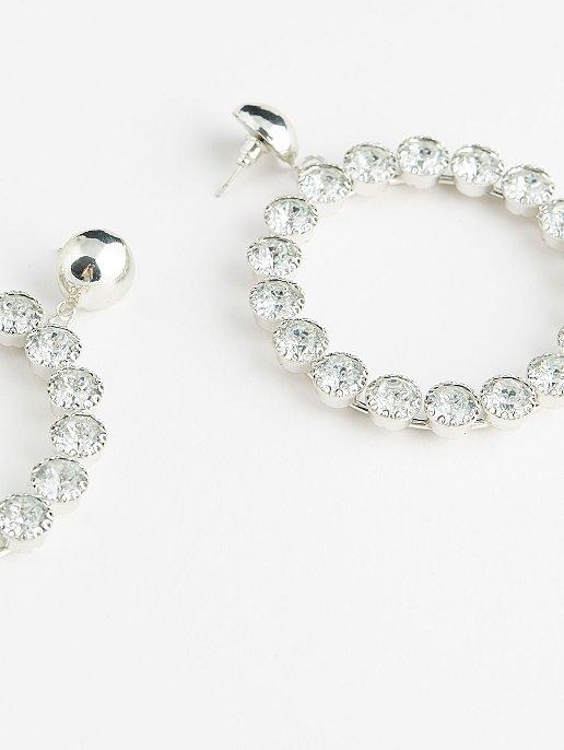 38758e62a Silver-Tone Large Diamanté Circular-Shape Earrings | Women | George