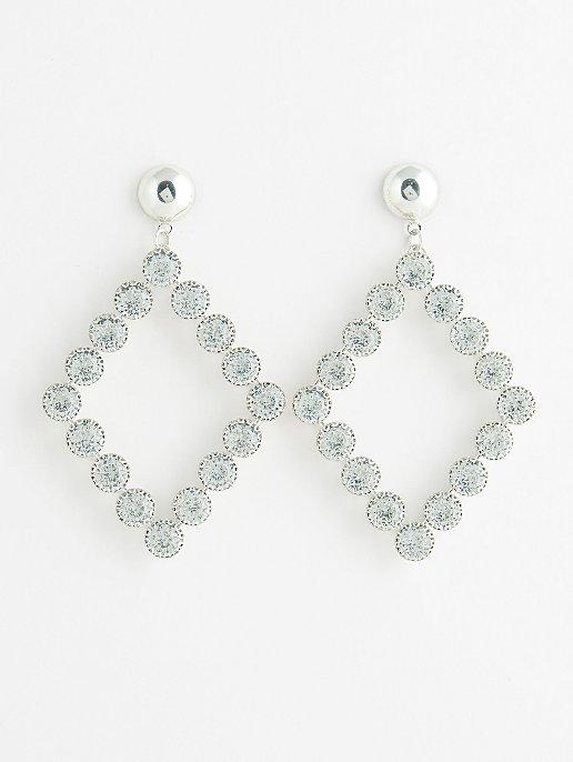 a669930d0 Silver-Tone Large Diamanté Diamond-Shape Earrings | Women | George