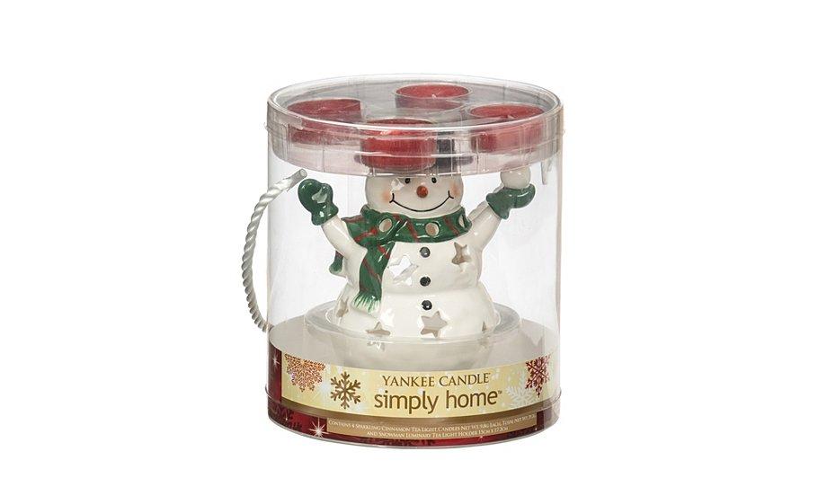 yankee candle snowman tea light holder home garden. Black Bedroom Furniture Sets. Home Design Ideas